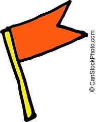 hand drawn vector sketch cartoon doodle flag illustration