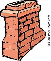 hand drawn, vector, sketch illustration of chimney