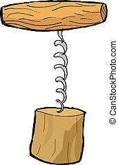 hand drawn, vector, sketch illustration of corkscrew