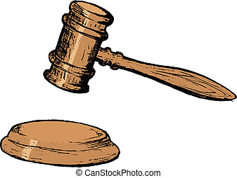 court gavel - hand drawn, vector, sketch illustration of...