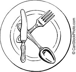 cutlery - the letter K on a plate