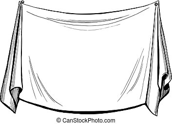 hand drawn, vector, sketch illustration of drapery