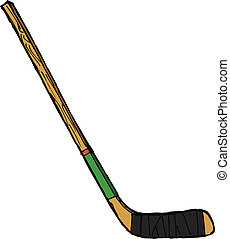 hand drawn, vector, sketch illustration of hockey stick