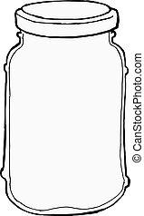 hand drawn, vector, sketch illustration of jar