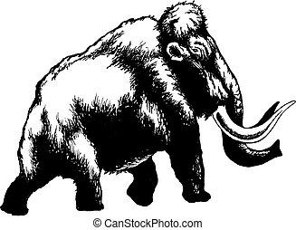 hand drawn, vector, sketch illustration of mammoth
