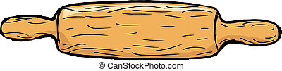 rolling pin - hand drawn, vector, sketch illustration of...