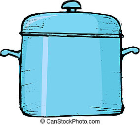 saucepan - hand drawn, vector, sketch illustration of...