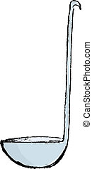 soup ladle - Hand drawn, vector, sketch illustration of soup...