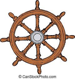 steering wheel - hand drawn, vector, sketch illustration of...