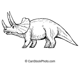 triceratops - hand drawn, vector, sketch illustration of...