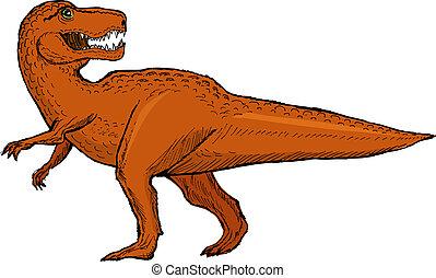 tyrannosaurus - hand drawn, vector, sketch illustration of...