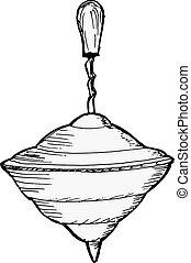 whirligig - hand drawn, vector, sketch illustration of...