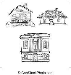 hand drawn, vector, sketch image of house in classical style architecture