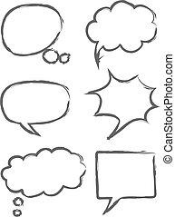Hand drawn vector sketch speech bubbles illustration icon set.