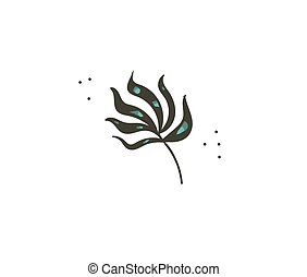 Hand drawn vector stock abstract flat cartoon graphic illustration with tropical summer ocean underwater seaweed isolated on white background