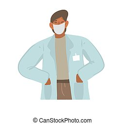 Hand drawn vector stock abstract graphic illustration with male doctor in a doctors coat and face mask isolated on white background