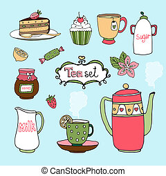 Hand-drawn vector tea set and cake icons with a kettle or...