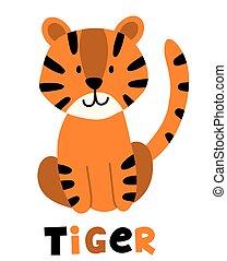Hand drawn vector tiger. Cute cartoon baby illustration