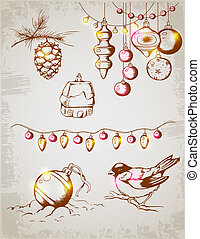 Christmas decorations - Hand drawn vector vintage Christmas...