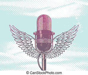 Hand drawn vector winged retro microphone