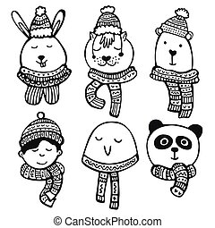 Hand drawn vector winter cute characters set