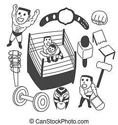 Hand drawn vector wrestling set
