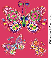 Hand drawn vector zentangle butterfly illustration. Decorative abstract doodle design element