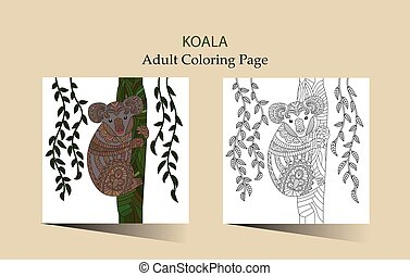 Hand drawn vector zentangle coloring page for adults with...