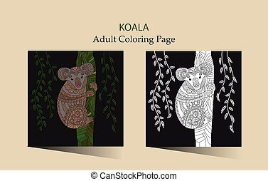 Hand drawn vector zentangle coloring page for adults with cute koala.
