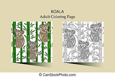 Hand Drawn Vector Zentangle Coloring Page For Adults With Cute Koala