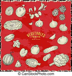 Hand drawn vegetables and fruits. Vector fresh collection of natural food. Sketch illustration.