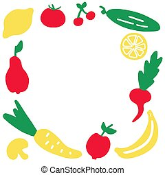 Hand-drawn vegetables frame. A set of fruit icons.