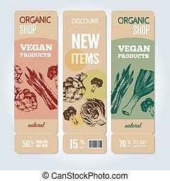 Hand-drawn vegetables on vector banners.