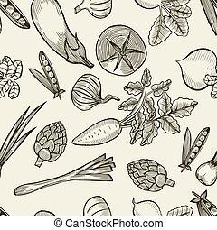 vegetables seamless pattern. - Hand drawn vegetables...