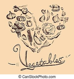 Hand drawn vegetables set with beige background.