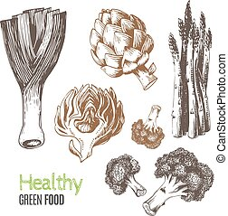 Hand-drawn vegetables. Vector illustration.
