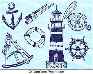 hand-drawn, -, verzameling, illustratie, nautisch