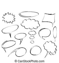 hand-drawn, vetorial, bolhas, diálogo