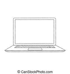 hand-drawn, vetorial, esboçado, laptop