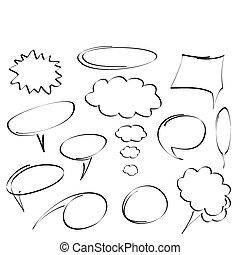 hand-drawn, vettore, bolle, dialogo