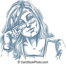 hand-drawn, vettore, illustrazione, di, bello, donna affari,...