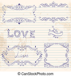Hand drawn vignettes on notebook sheet