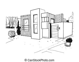 Hand drawn villa. modern private residential house. black and white sketch illustration.