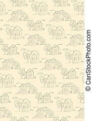 Hand drawn village houses pattern