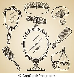Hand drawn vintage beauty and retro makeup items