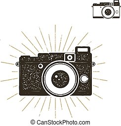 Hand drawn vintage camera label with sunbursts. Old style camera icon isolated on white background. Good for tee shirt, clothing prints, mugs, travel pennant designs. Stock vector.