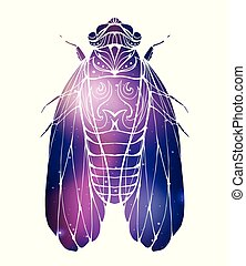 Hand drawn vintage cicada with a boho pattern and cosmic background. Insect with doodle pattern. Vector element for tattoo sketch, printing on T-shirts, postcards and your design