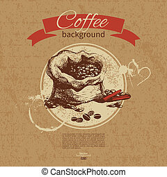 Hand drawn vintage coffee background. Menu for restaurant,...