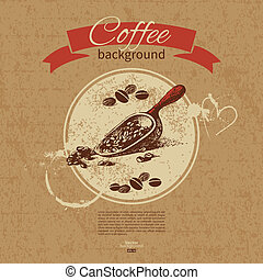 Hand drawn vintage coffee background. Menu for restaurant, cafe, bar, coffeehouse
