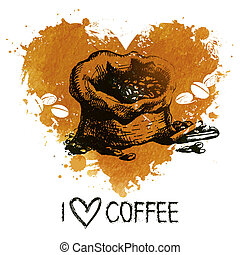 Hand drawn vintage coffee background with splash watercolor heart and sketch illustration